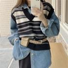 Striped Sweater Vest / Denim Shirt
