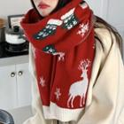 Christmas Deer Knit Shawl
