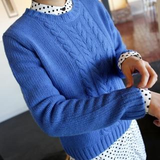 Round-neck Cable-knit Top