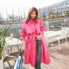 Flap-front Long Trench Coat With Sash