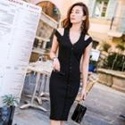 Buttoned Sleeveless Knit Dress