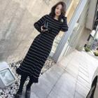 Frilled Striped Knit Midi Dress