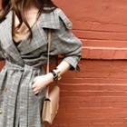 Glen-plaid Long Trench Coat With Belt