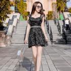 Sleeveless Star Printed Mini Bodycon Dress
