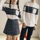 Couple Matching Plaid Panel Shirt