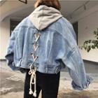 Loose-fit Lace-up Detail Back Denim Jacket