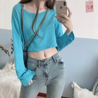 Cropped Knit Top Knit Top - Blue - One Size