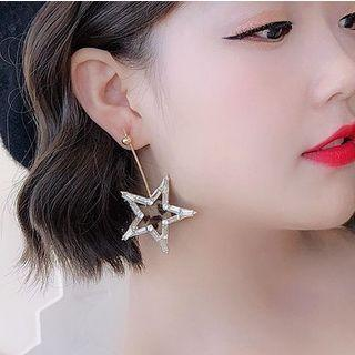 925 Leopard Print Star Drop Earrings Pentagram - One Size
