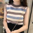 Sleeveless Tasseled Striped Knit Top