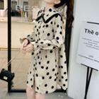 Dotted Collared Dress Dots - Beige - One Size