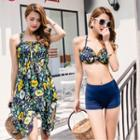 Set: Strapless Printed Dress + Halter Bikini