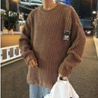 Patched Cable-knit Sweater