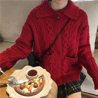 Cable-knit Open Front Cardigan