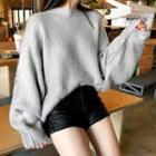 Oversized Furry Pointelle-knit Sweater