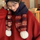 Christmas Patterned Bobble Knit Scarf