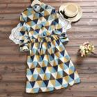Patterned A-line Collared Dress