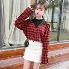 Plaid Mock Two Piece Blouse