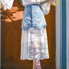 Embroidered Mesh Panel Denim Midi Skirt