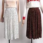 Polka-dot Pleated Chiffon Skirt