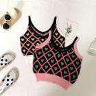 Heart Print Crop Knit Camisole
