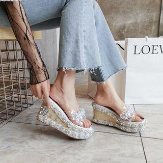 Rhinestone Platform Wedge Heel Sandals (various Designs)