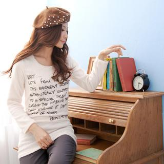 Letter-print Long Terry Top
