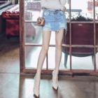 High-waist Washed Distressed Denim Skirt