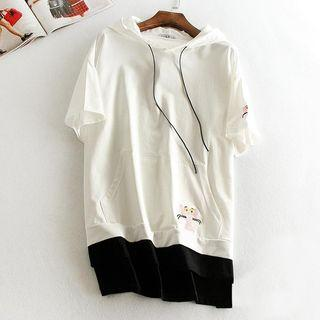 Short-sleeve Panel Hooded Top