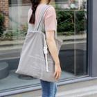 Drawstring Canvas Shopper Bag Gray - One Size