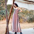 Strappy Striped Maxi Sundress As Shown In Figure - One Size