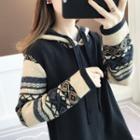 Jacquard Knit Hoodie Dress