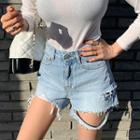 Distressed Slit-side Denim Shorts