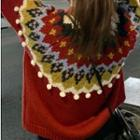 Jacquard Sweater Red - One Size