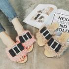 Bow Accent Furry Slide Sandals