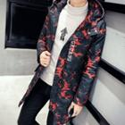 Camouflage Hooded Quilted Long Jacket