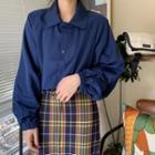 Plain Cropped Jacket / Plaid Midi Skirt