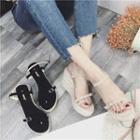 Toe Loop Wedge Sandals