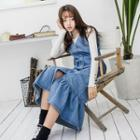 Buttoned Midi Denim Jumper Dress