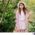 Open Front Floral Long Cardigan