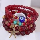 Alloy Starfish Evil Eye Bead Layered Bracelet