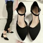 Ankle-strap Pointy-toe Chunky-heel Pumps