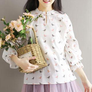 Bird Print Long Sleeve Blouse