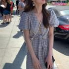 Plaid Short-sleeve Blouse / A-line Skirt / A-line Dress / Set