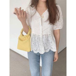 V-neck Perforated Blouse One Size