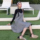 Ruffle Hem Pinafore Dress