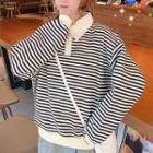 Polo Neck Striped Hoodie