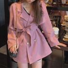 Suit Collar Lace-up Trench Coat
