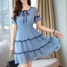 Short-sleeve Frill-trim Chiffon A-line Mini Dress