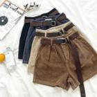 Plain High-waist Corduroy Shorts With Belt