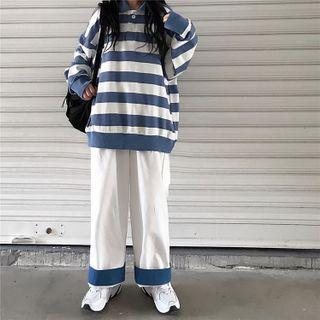 Oversized Long Sleeve Striped Polo Shirt / Contrast Trim Wide-leg Pants